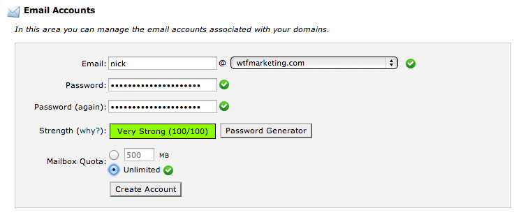 Step 2 - Create the Account