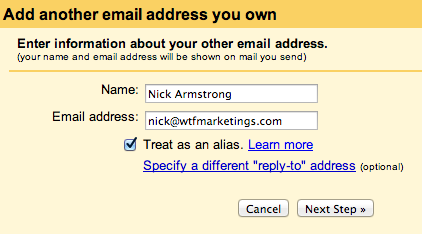 Step 6 - enter the new email address's details